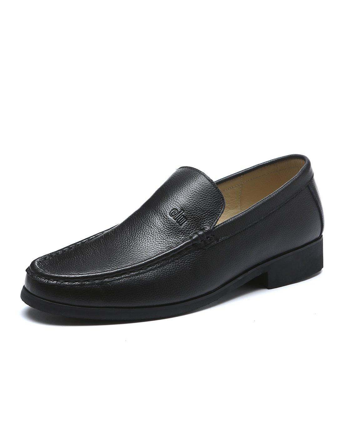 信诺牛皮内里休闲皮鞋时尚舒适爸爸鞋中老年男鞋602221黑色