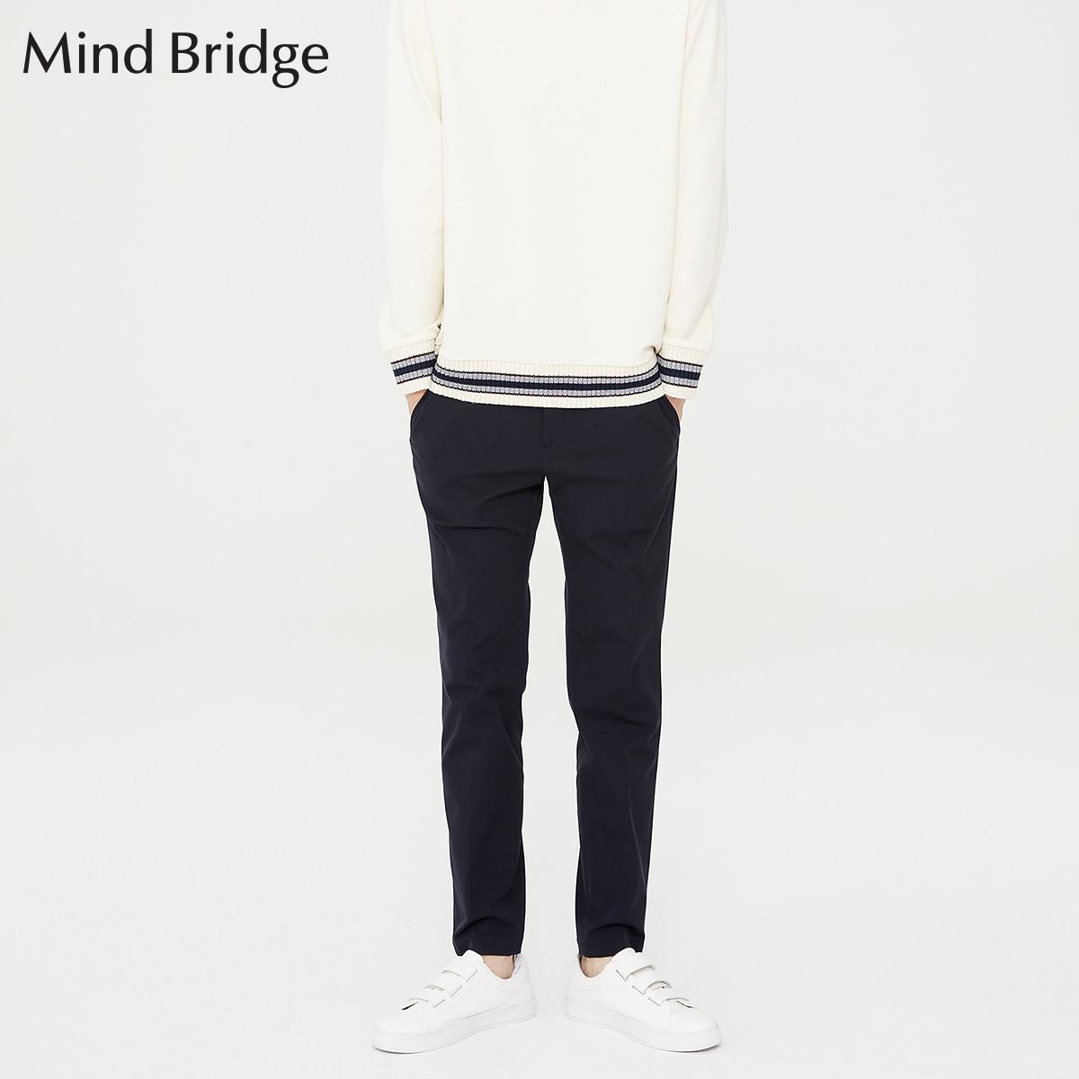 Mind Bridge百家好Mind Bridge男士修身纯色休闲裤MRPT6111BK