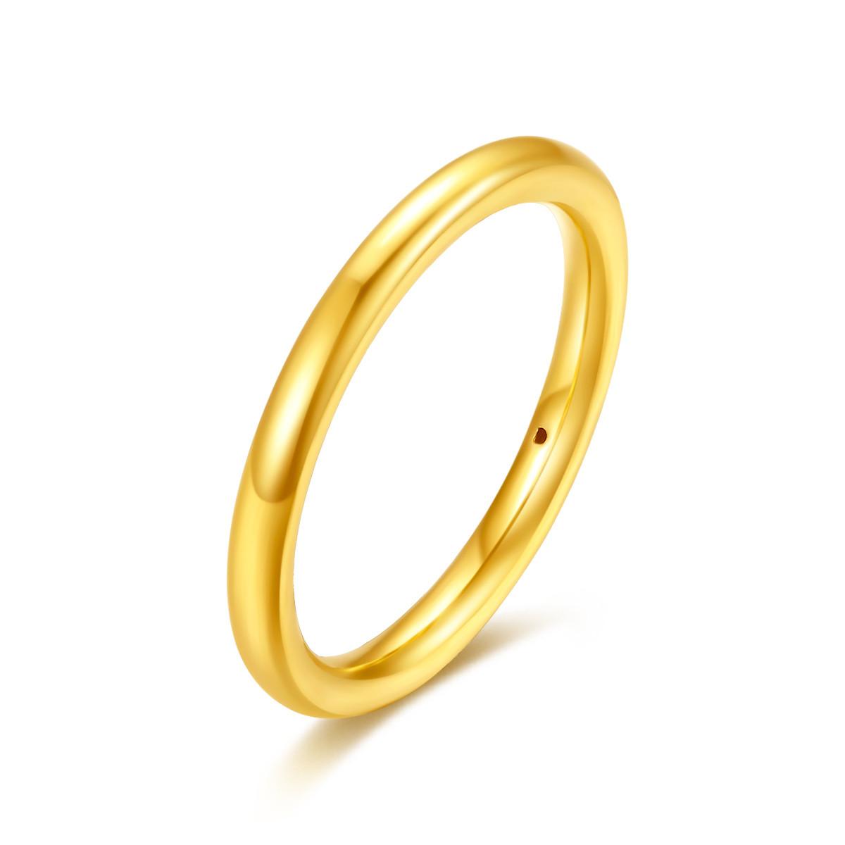 吉盟珠宝吉盟珠宝 黄金戒指女男士结婚戒光面新款简约足金素圈戒情侣对戒YR001