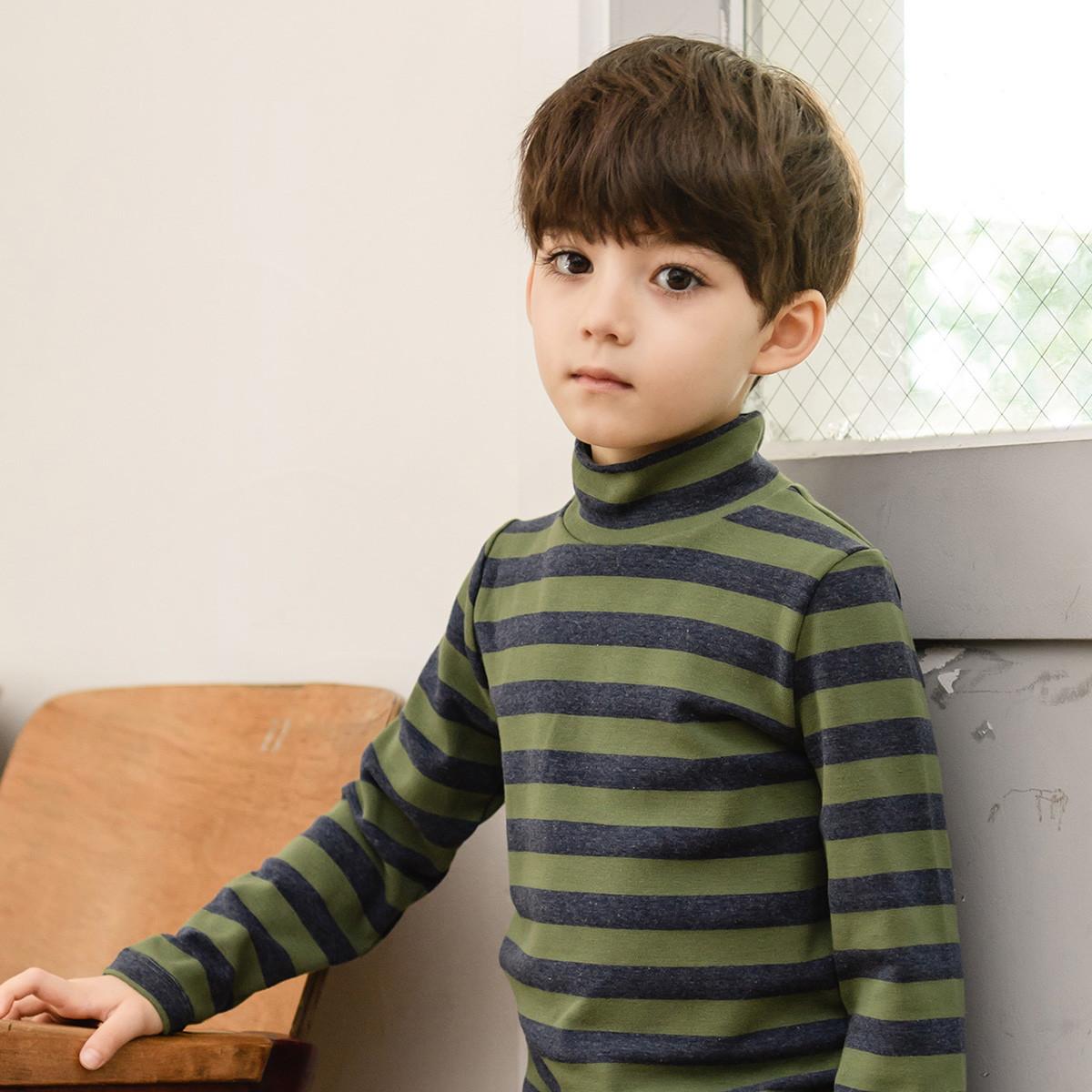 纯一良品纯一良品男童高领打底衫拼色条纹上衣新款儿童秋季长袖T恤潮1859805