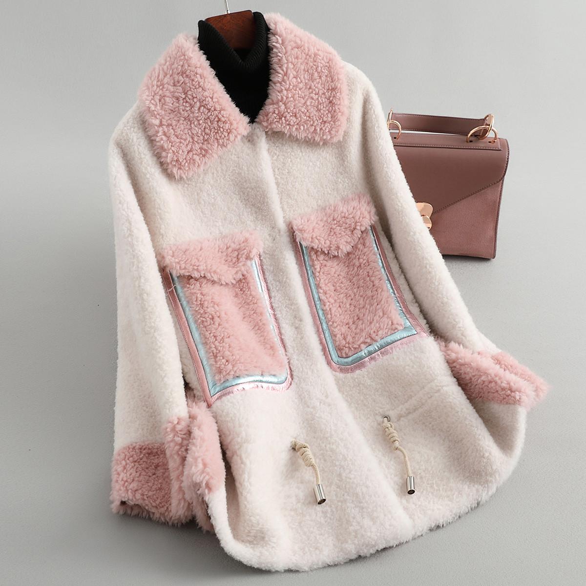 兰奥【100%羊毛】女式时尚大口袋绵羊皮拼接羊毛皮草外套TLR3163白色