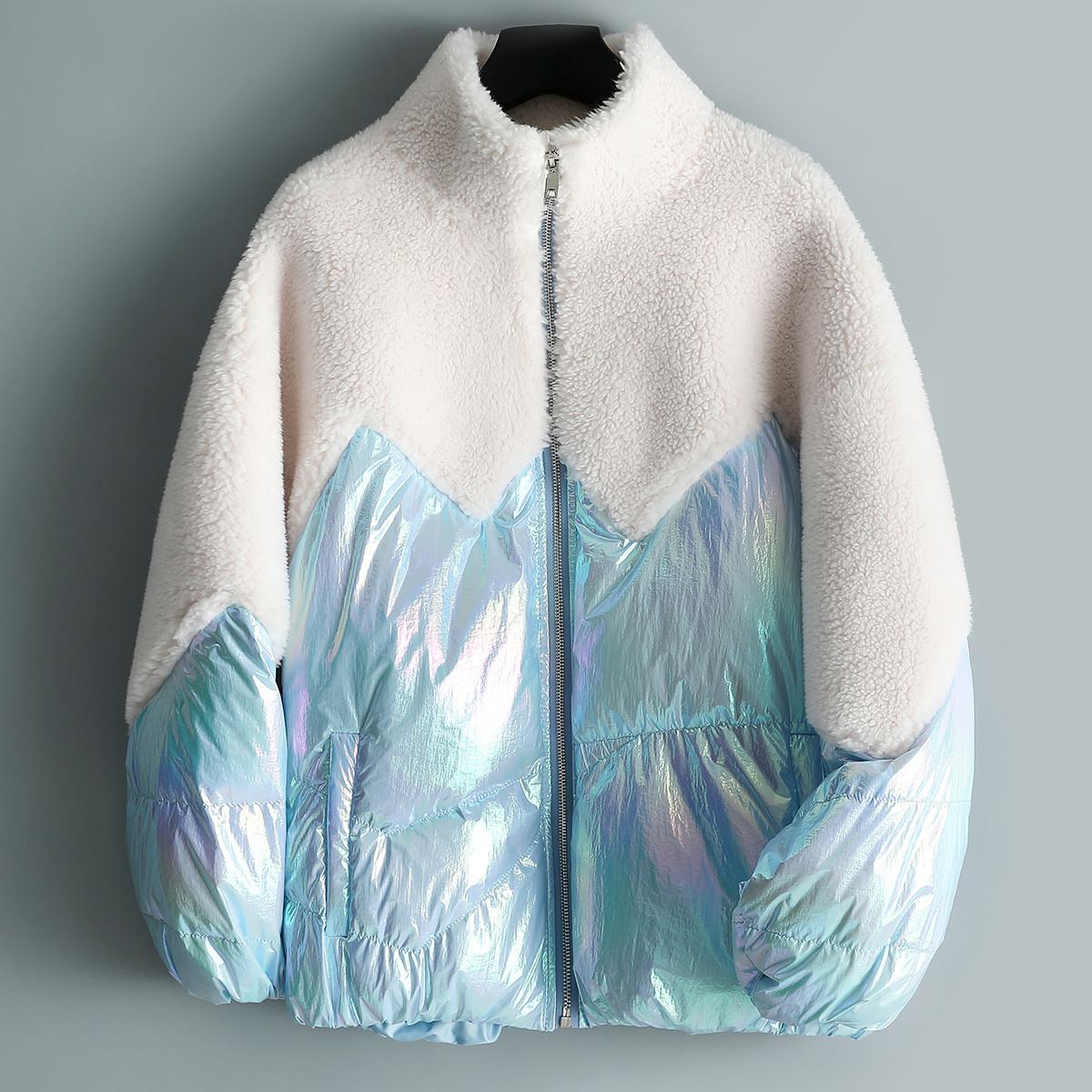 兰奥女式时尚立领拉链羽绒拼接大颗粒复合皮毛一体羊毛皮草外套TLR2565白混蓝