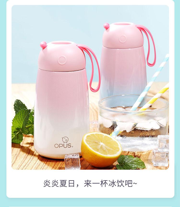 学生韩版清新文艺可爱潮流圣诞茶杯大q保温杯400ml