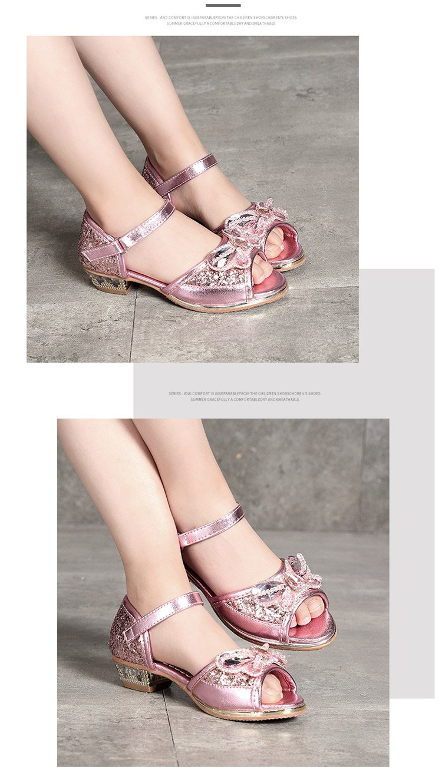 女童凉鞋2018新款韩版小女孩公主高跟鞋夏季中大童儿童鞋子中大童