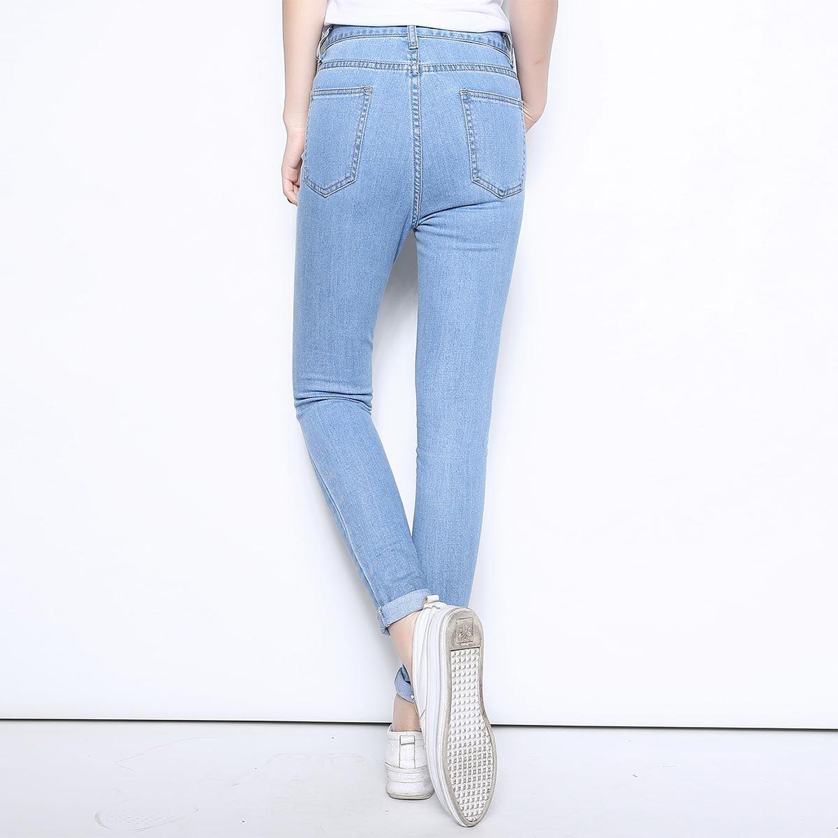 浅蓝 女款修身牛仔裤