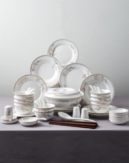 天鹅湖系列 传统古典欧式陶瓷餐具56件套碗碟盘餐具套装