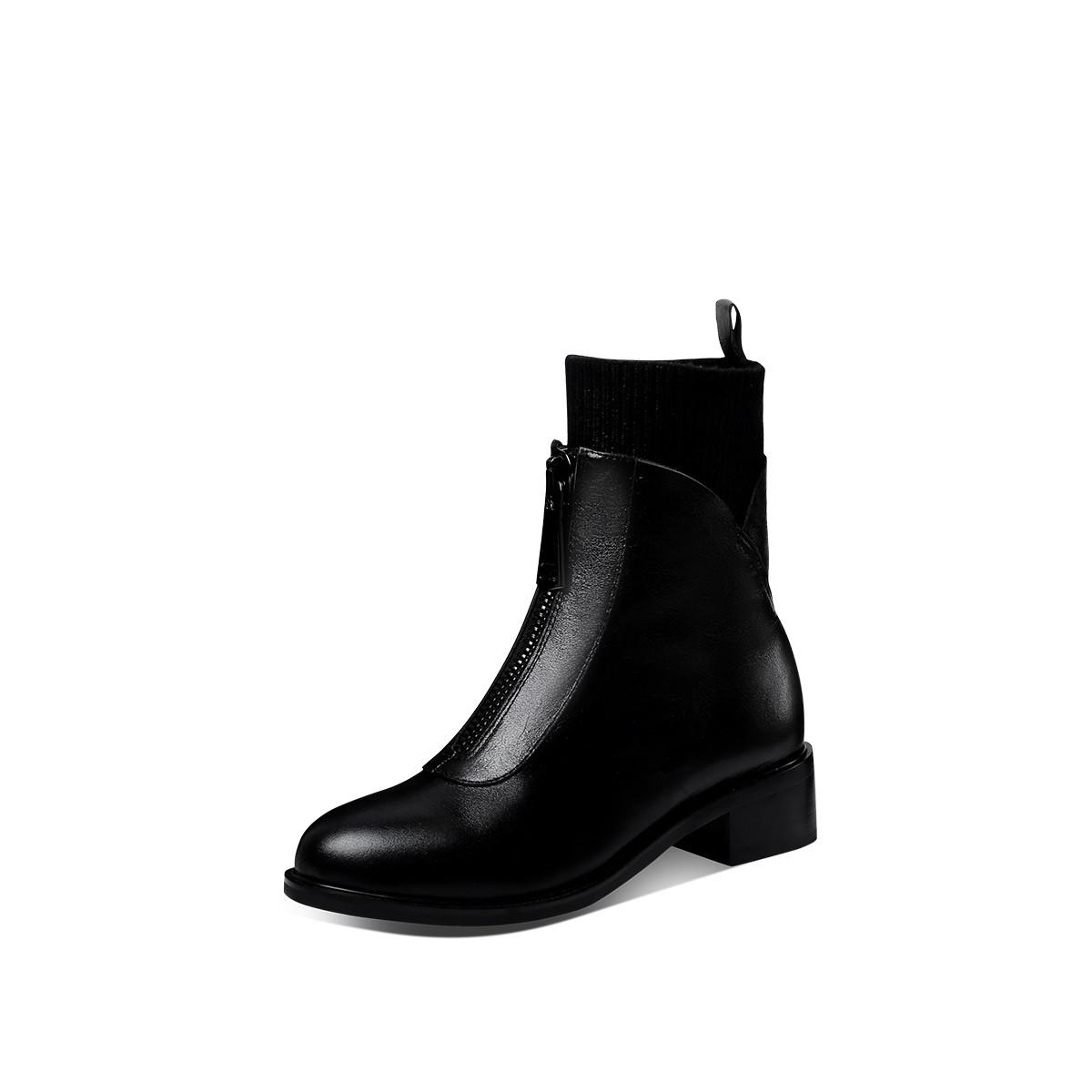 香阁儿香阁儿2019年冬季新款牛皮/毛线中跟粗跟圆头女短靴X9DXMB036BHS