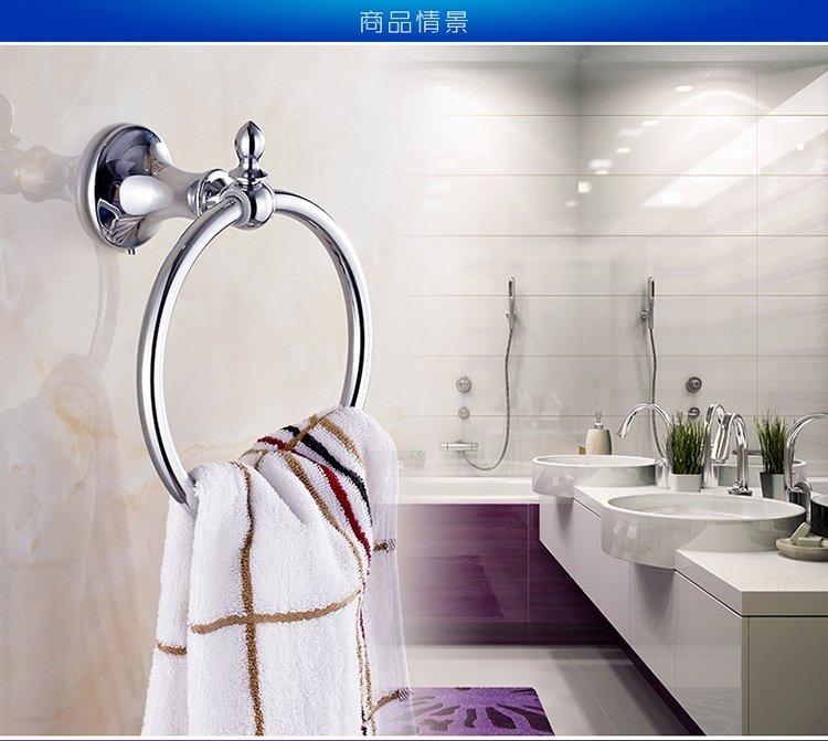 卫浴挂件 卫生间圆形毛巾架毛巾环 不锈钢欧式毛巾圈架毛巾挂环免打孔