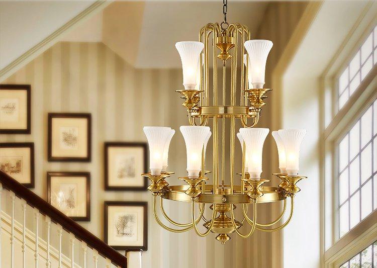 铜范灯饰专场直发货 全铜吊灯高楼层别墅欧式客厅吊灯楼道楼梯灯美式