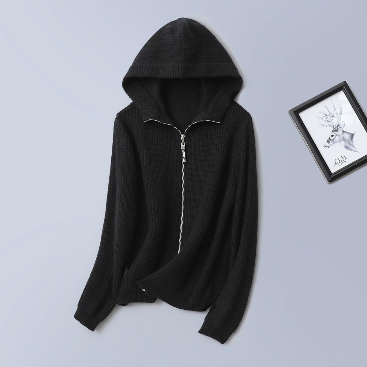 紫澜门春款羊毛兔毛混纺连帽拉链女装开衫外套3201305G84901
