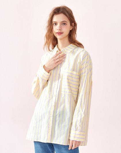 【bf风条纹设计】森马2019春季新款甜美风宽松中长款衬衫女图片
