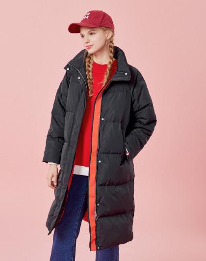 【字母刺绣】森马2018冬季新款中长款宽松显瘦外套立领女款羽绒服女图片