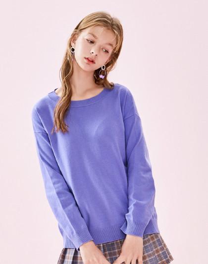 森马女装2019春新款长袖打底衫绑带甜美针织衫女款毛衣图片