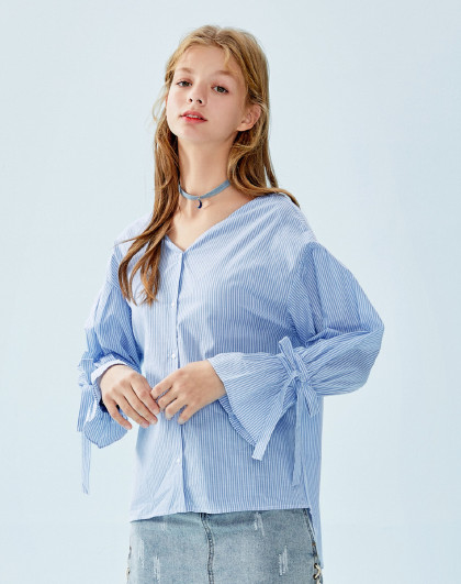 【v领小心机】森马2019春季新款小清新宽松纯棉长袖衬衫女图片