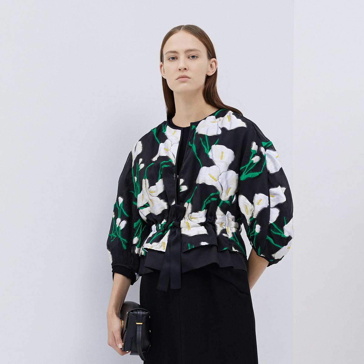 玛丝菲尔Marisfrolg/玛丝菲尔海芋花稿设计蚕丝混纺短外套A1JS12028