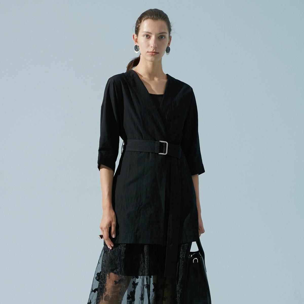 玛丝菲尔Marisfrolg/玛丝菲尔不规则褶皱五分袖中长款外套A1JS21628