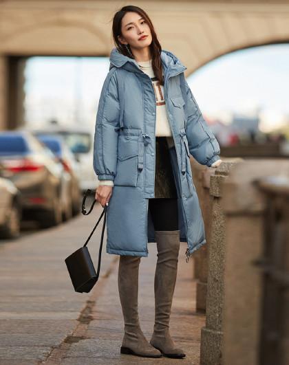 新款 女士设计感大口袋保暖白鸭绒加厚中长款外套羽绒服