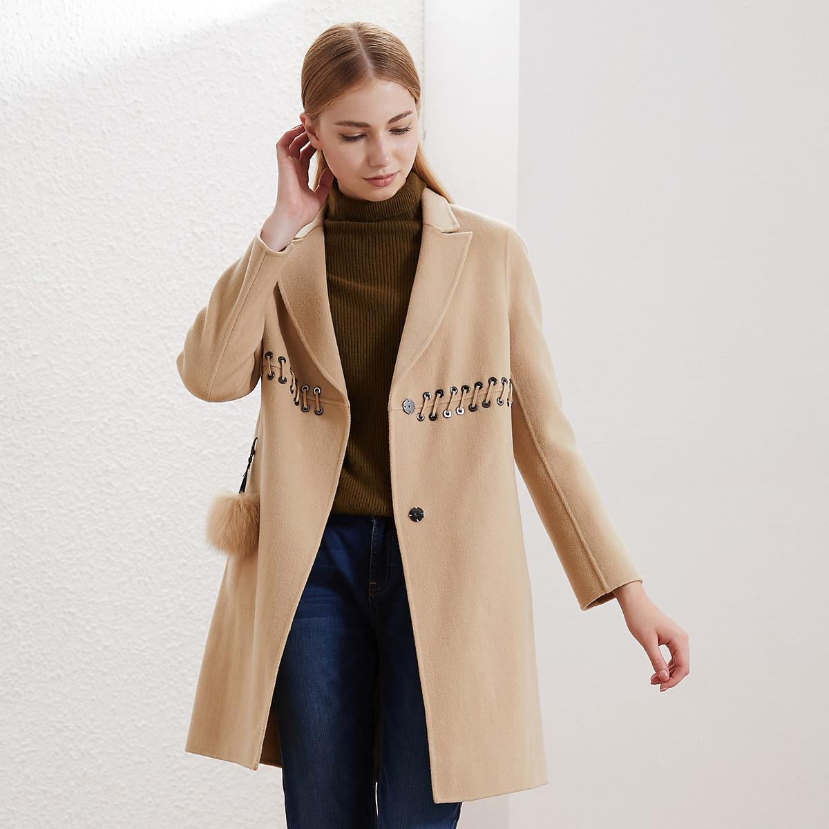卡迪黛尔卡迪黛尔2019秋冬季新款羊毛呢外套女中长款韩版高腰显瘦C1AHG9102WK