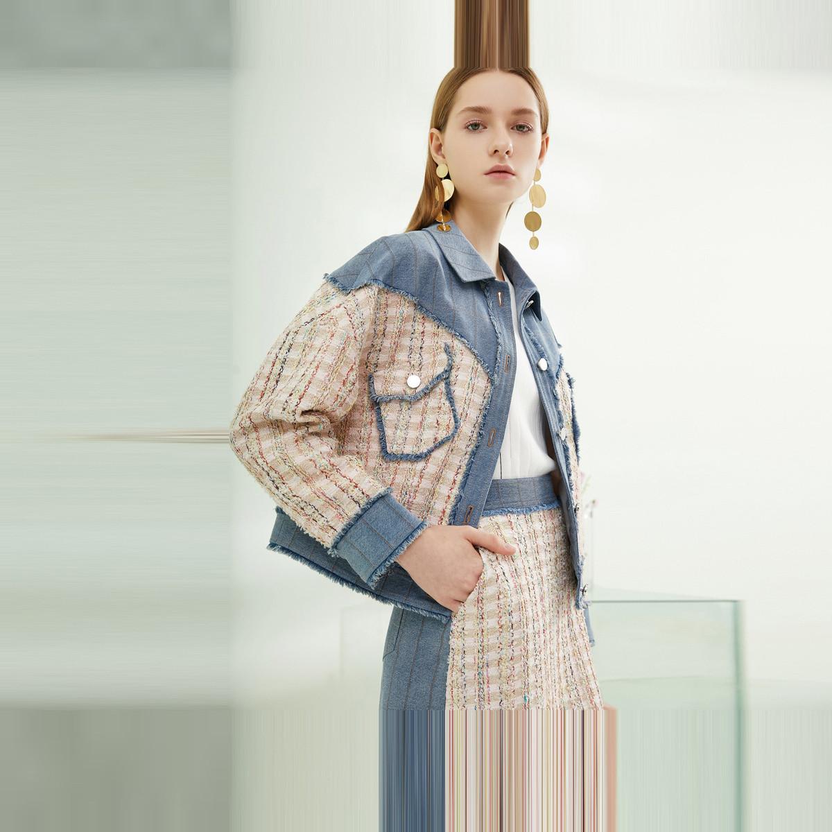 卡迪黛尔卡迪黛尔复古港味名媛短外套女简约修身洋气薄款上衣2020春季CC00055C1