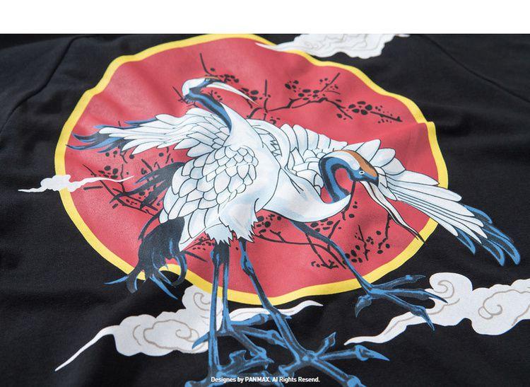panmax潮牌大码男装 胖子长袖t恤中国风衣服仙鹤印花加肥加大体恤