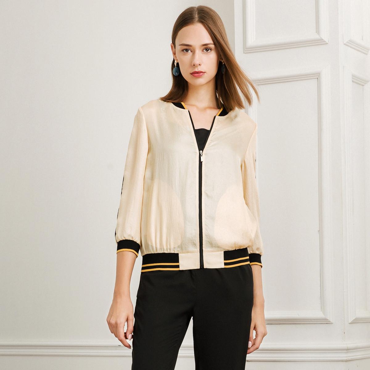 娜尔思娜尔思春季新款女装薄外套年新款女运动风棒球服夹克拼接短款上衣NC00069D1