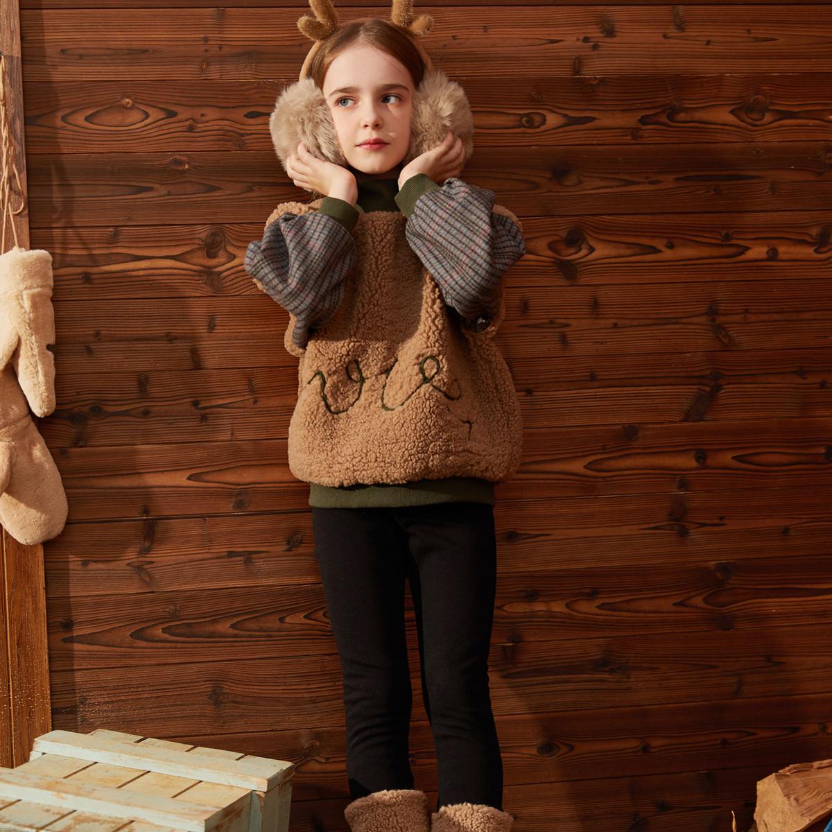 巴帝巴帝巴拉巴拉旗下19冬女童中大童时尚撞色儿童摇粒绒加厚保暖套装30419VD0130BD034