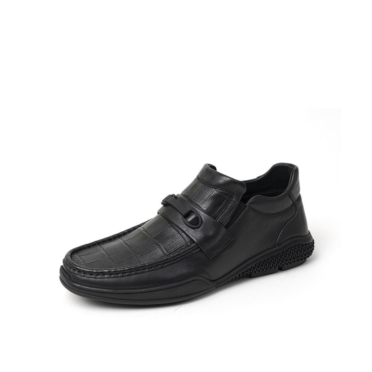 百思图百思图 2019冬季专柜同款牛皮革一脚蹬商务男休闲鞋RGL80Y28DU1DM9