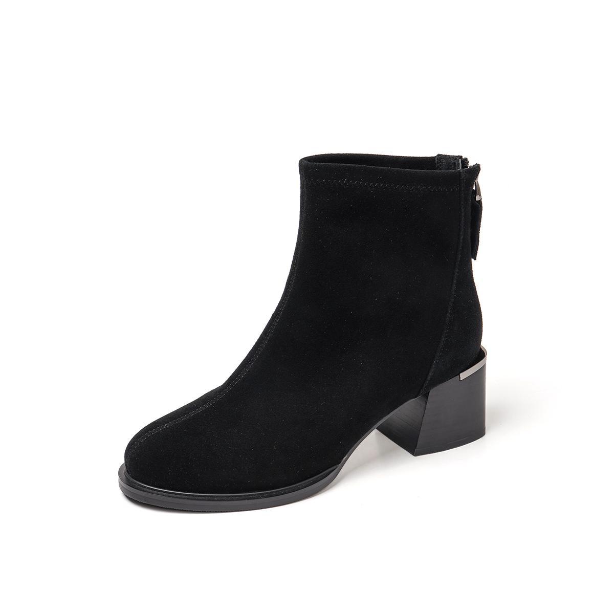 百思图百思图 2019冬季专柜同款羊皮革通勤风粗高跟女皮靴R74A5801DU1DD9