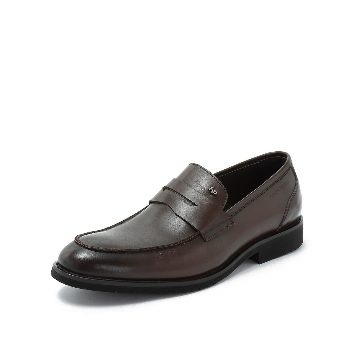 暇步士暇步士一脚蹬乐福鞋牛皮鞋新郎婚鞋男时装鞋上班男商务鞋CE0B1Q02MT1CM8啡色