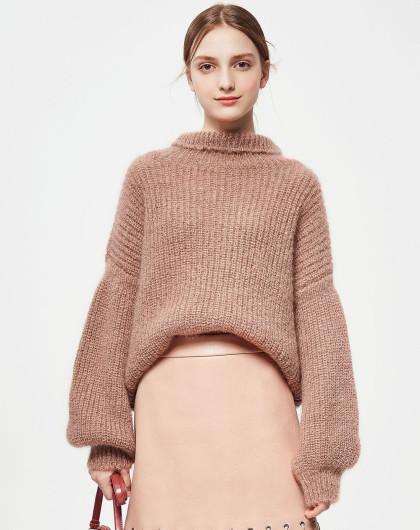 糖力2017秋冬装新款欧美宽松灯笼袖针织衫套头高领毛衣