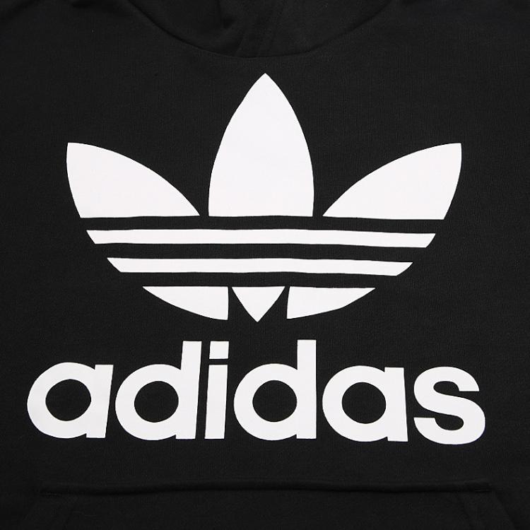 阿迪达斯 adidas 三叶草 时尚百搭 黑色配白色男童卫衣