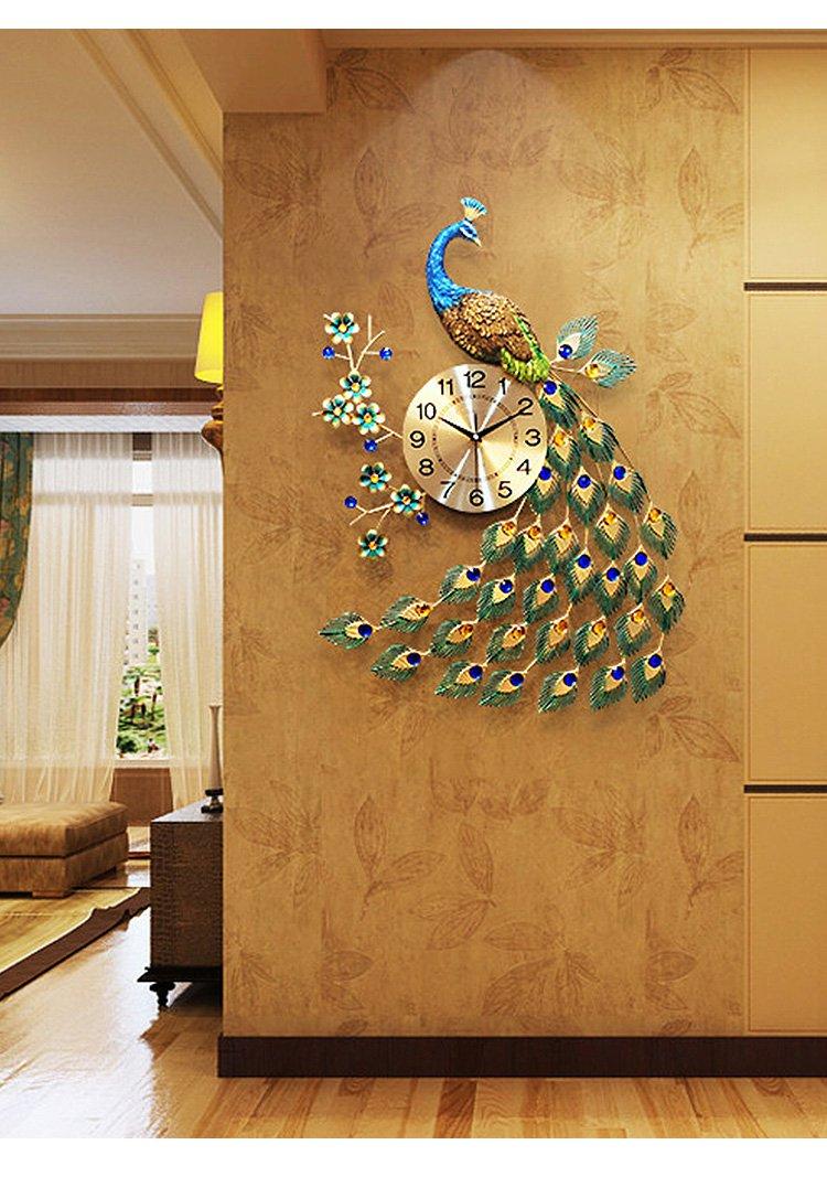 欧式家居客厅创意钟表大气静音时钟现代装饰品挂表艺术孔雀挂钟