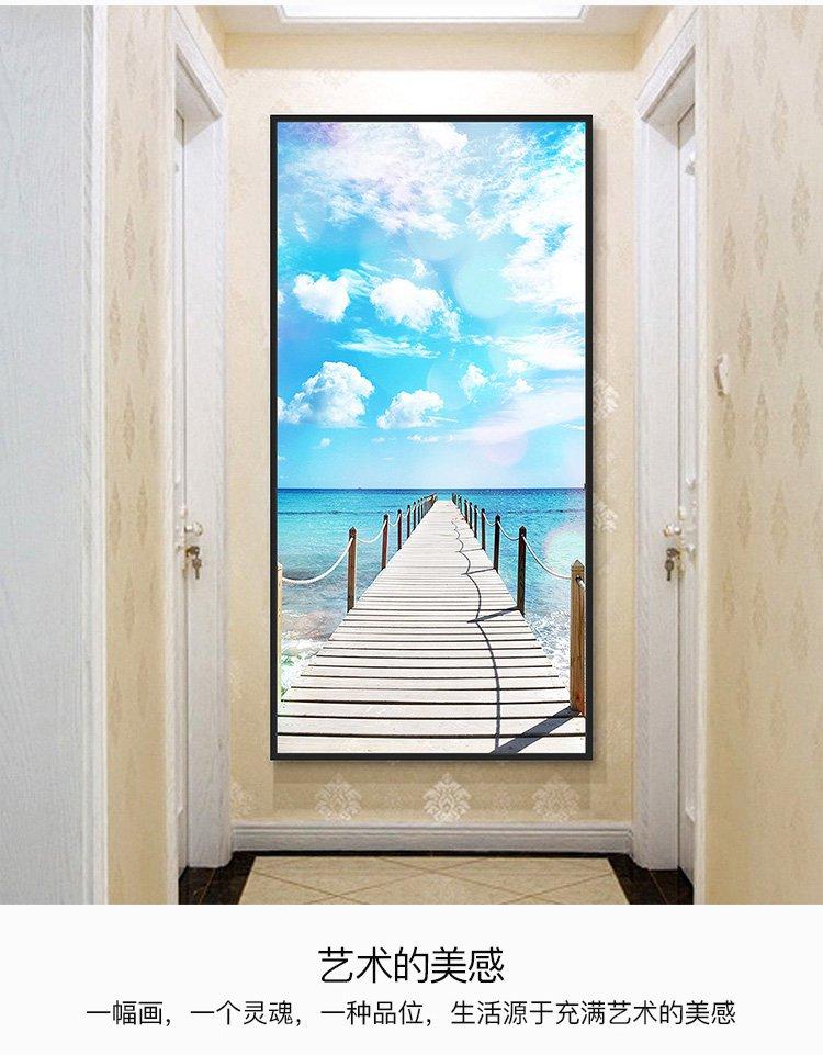 海景玄关过道现代简约北欧客厅壁画风景竖版走廊挂画单幅装饰画