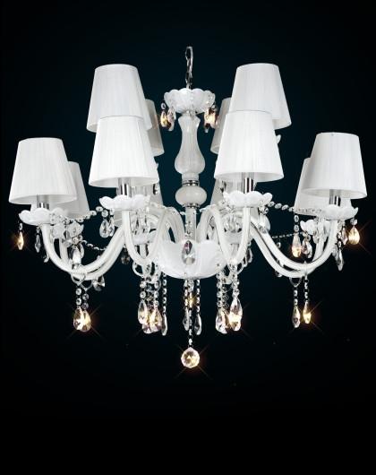12头白色水晶吊灯 欧式客厅吊灯