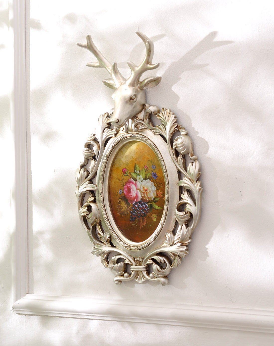 纯手绘花卉鹿头壁饰