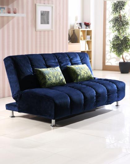 金海马实木框架可拆洗布艺功能沙发床 宝蓝色_唯品