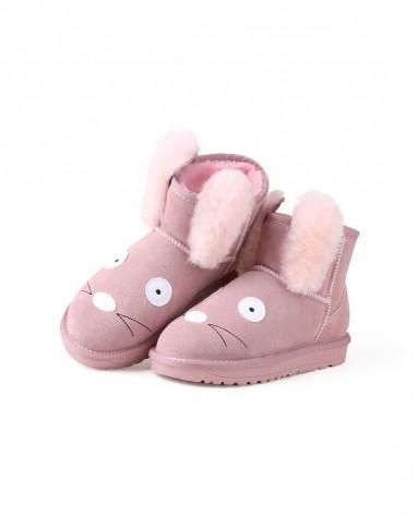 涉趣可爱粉可爱兔子耳朵雪地靴