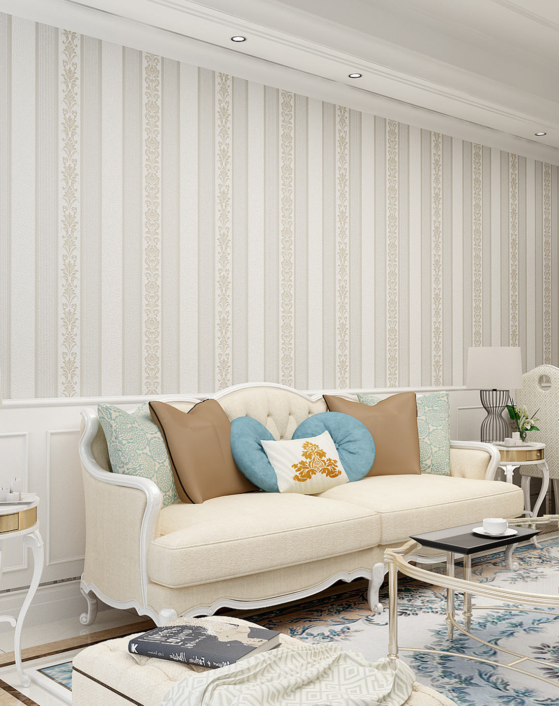 米素墙纸专场银白色3d欧式竖条纹无纺布墙纸ms-20903