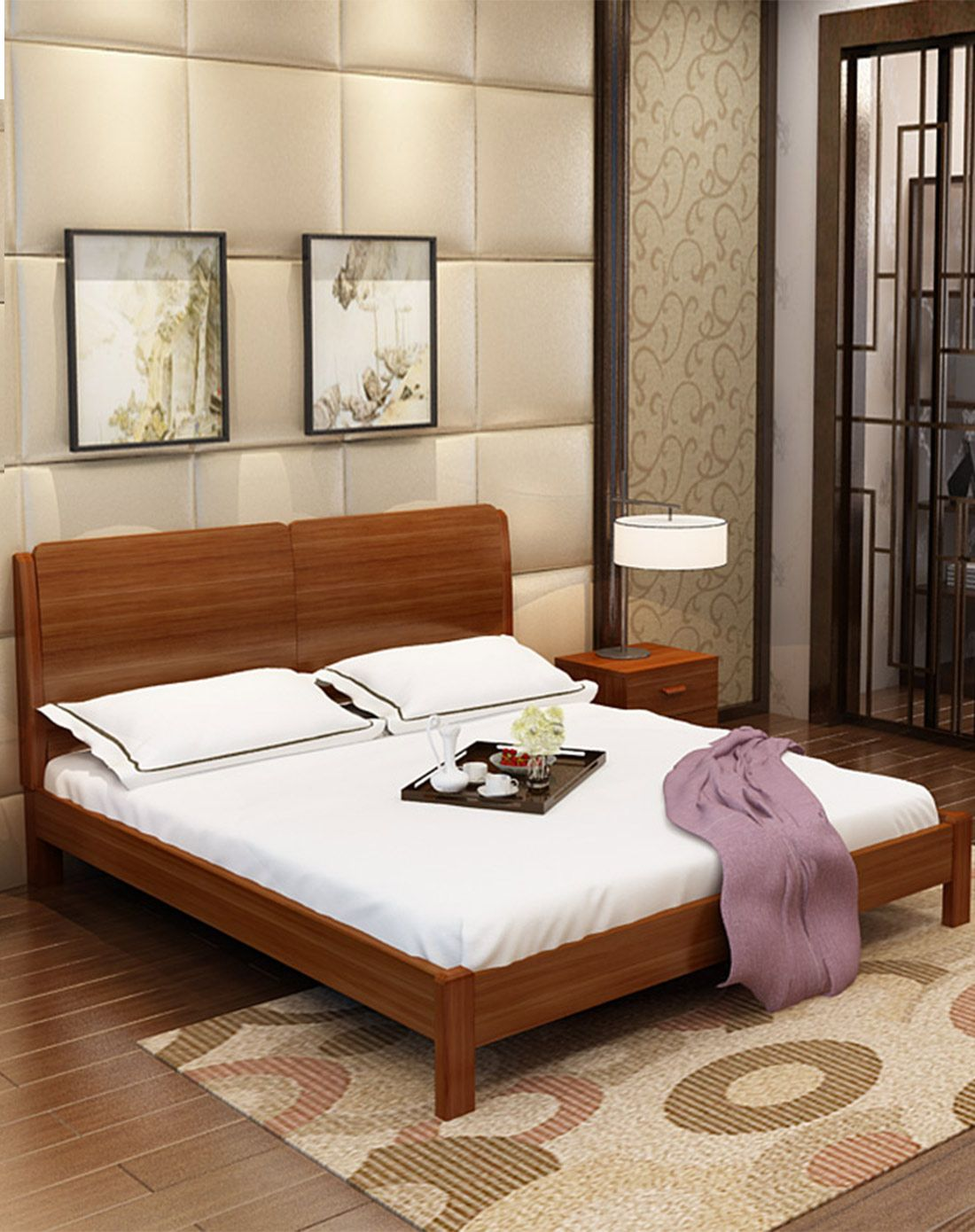 敦厚稳固简约中式现代板木床套餐