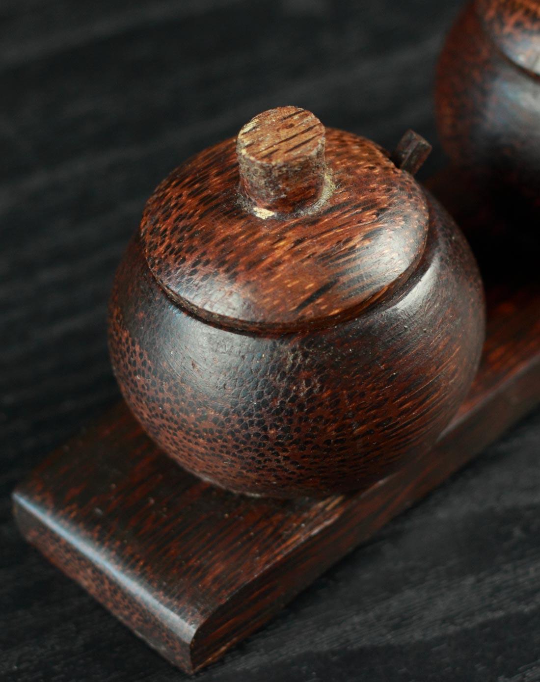 巴厘岛特色木雕 调料盒调味罐