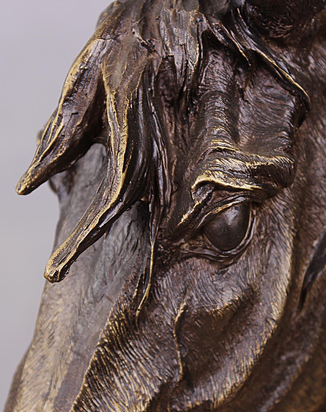 欧式复古仿铜马头摆件图片