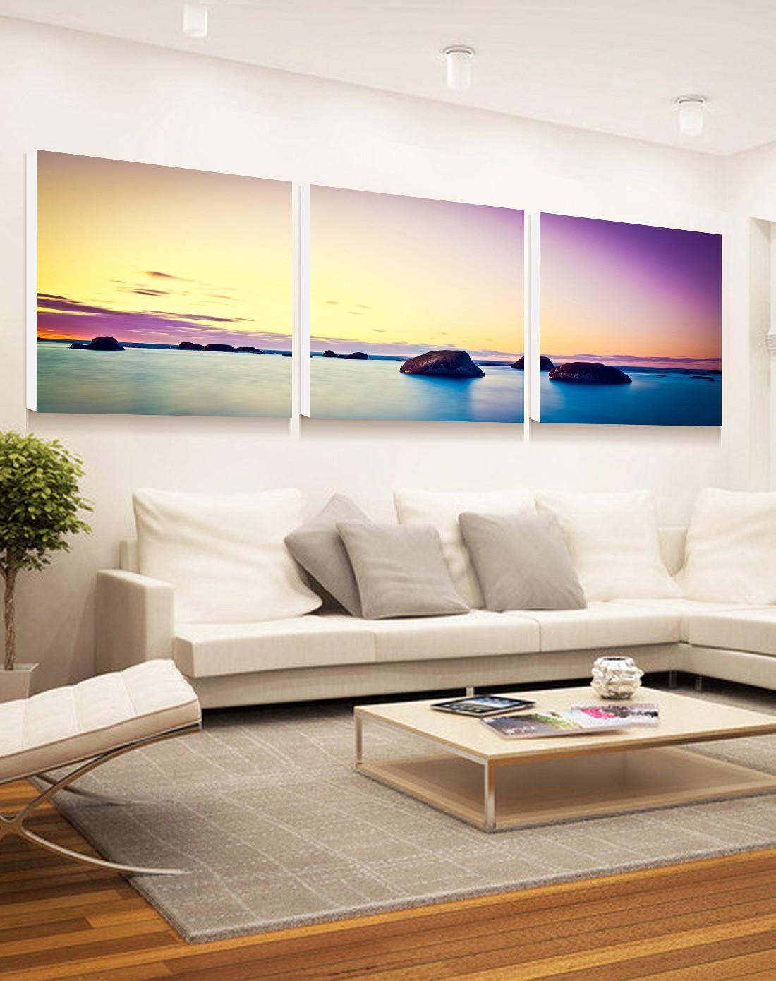 柠檬树家居装饰专场现代简约风景无框装饰画 紫气东来