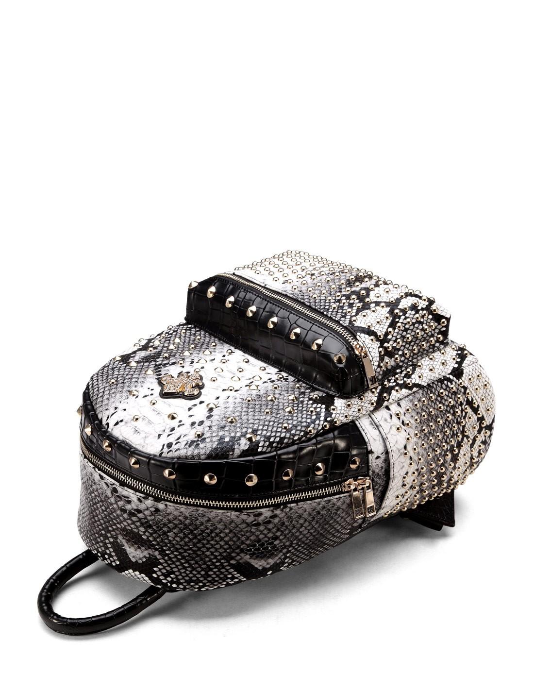 黑色蛇纹奢华铆钉时尚双肩包