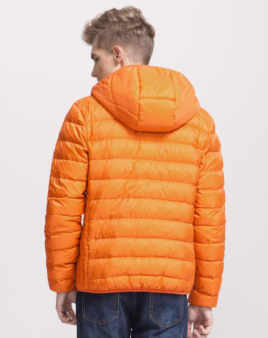 男装橙色修身型轻薄羽绒服