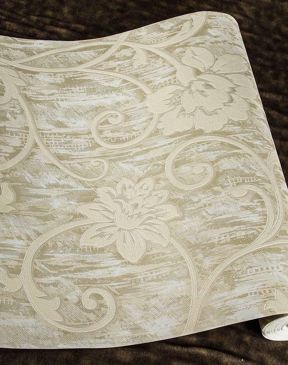 米白欧式立体3d大花无纺布墙纸