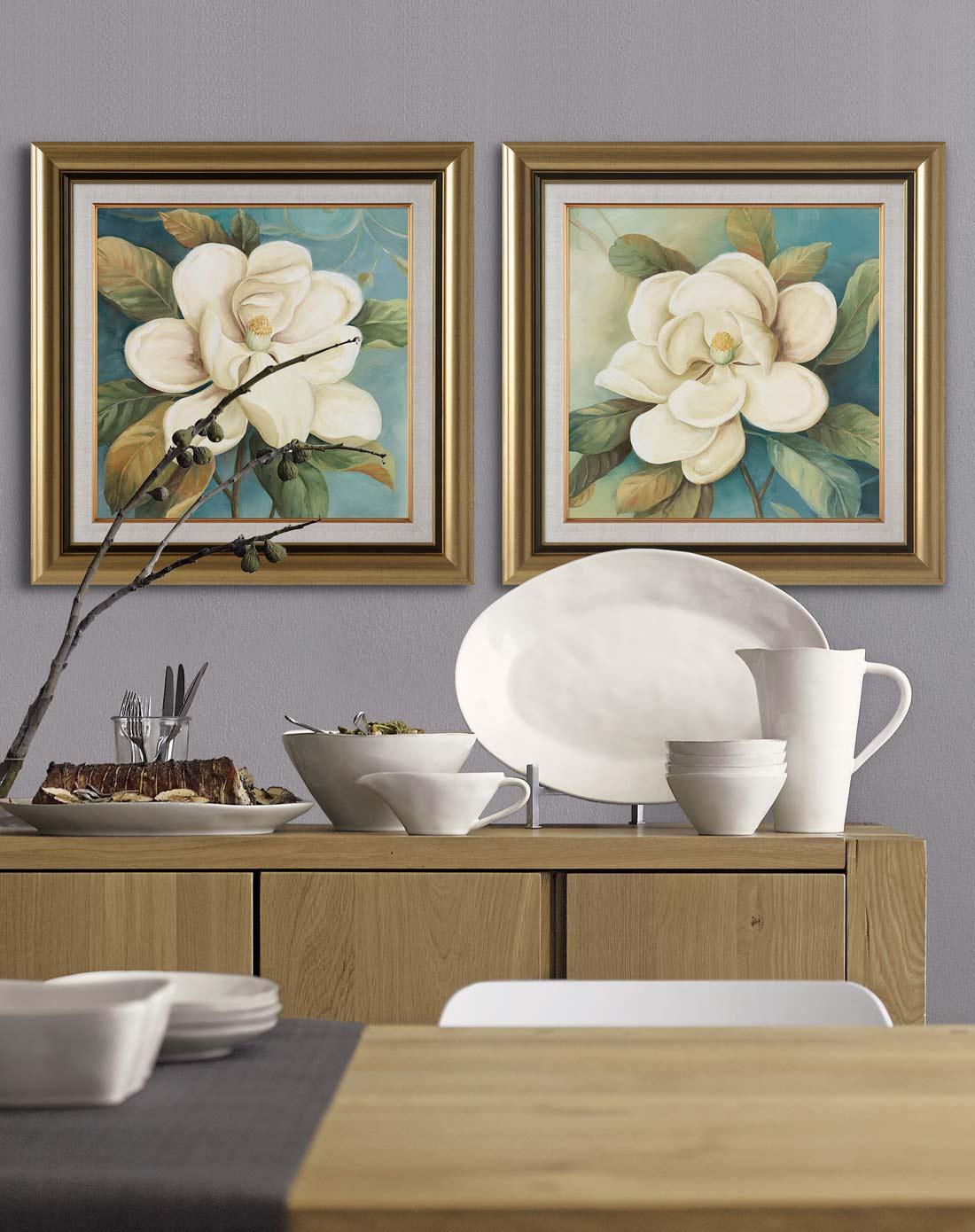 70*70cm玉兰花欧式客厅卧室装饰画