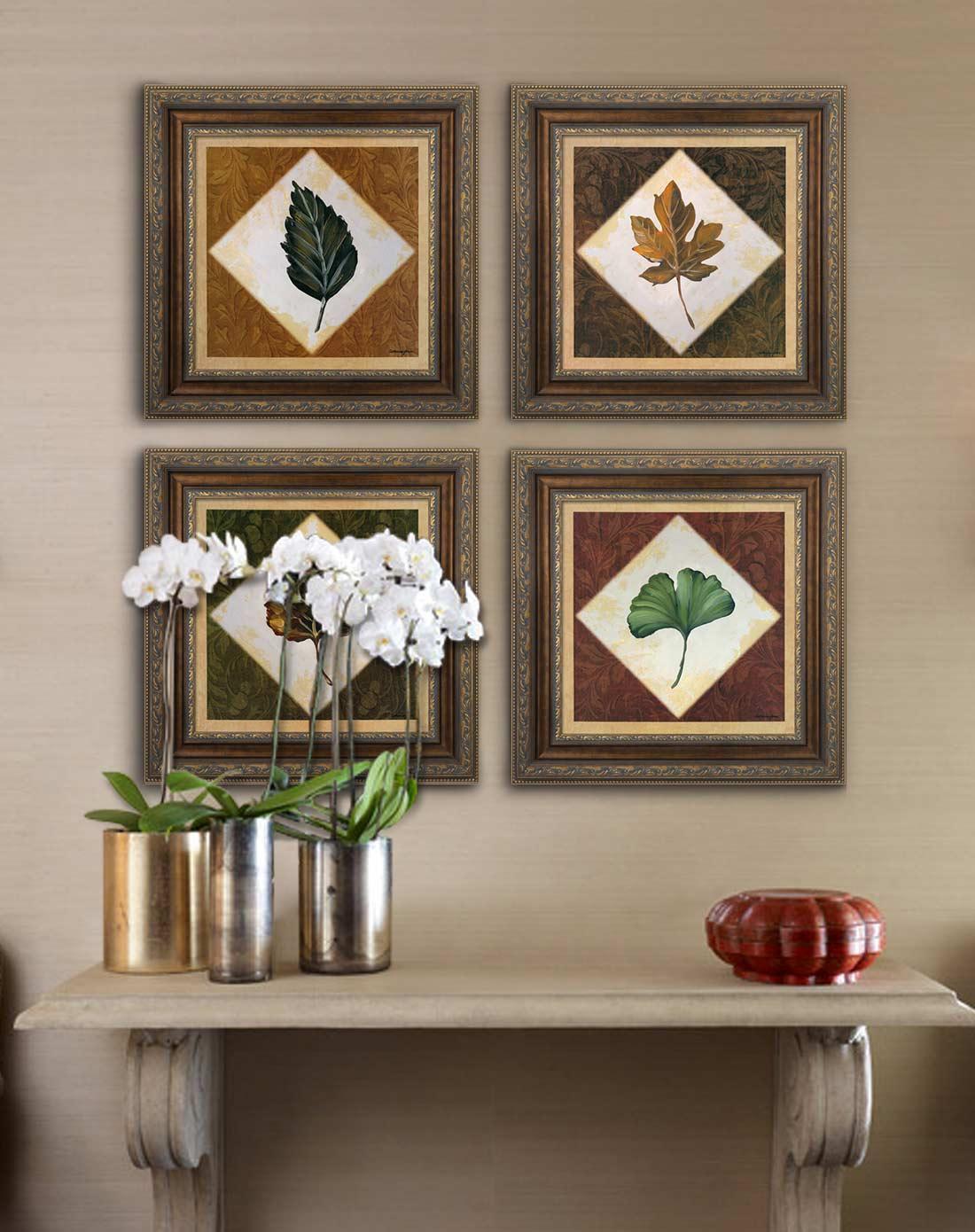 56*56cm树叶小品欧式客厅餐厅装饰画