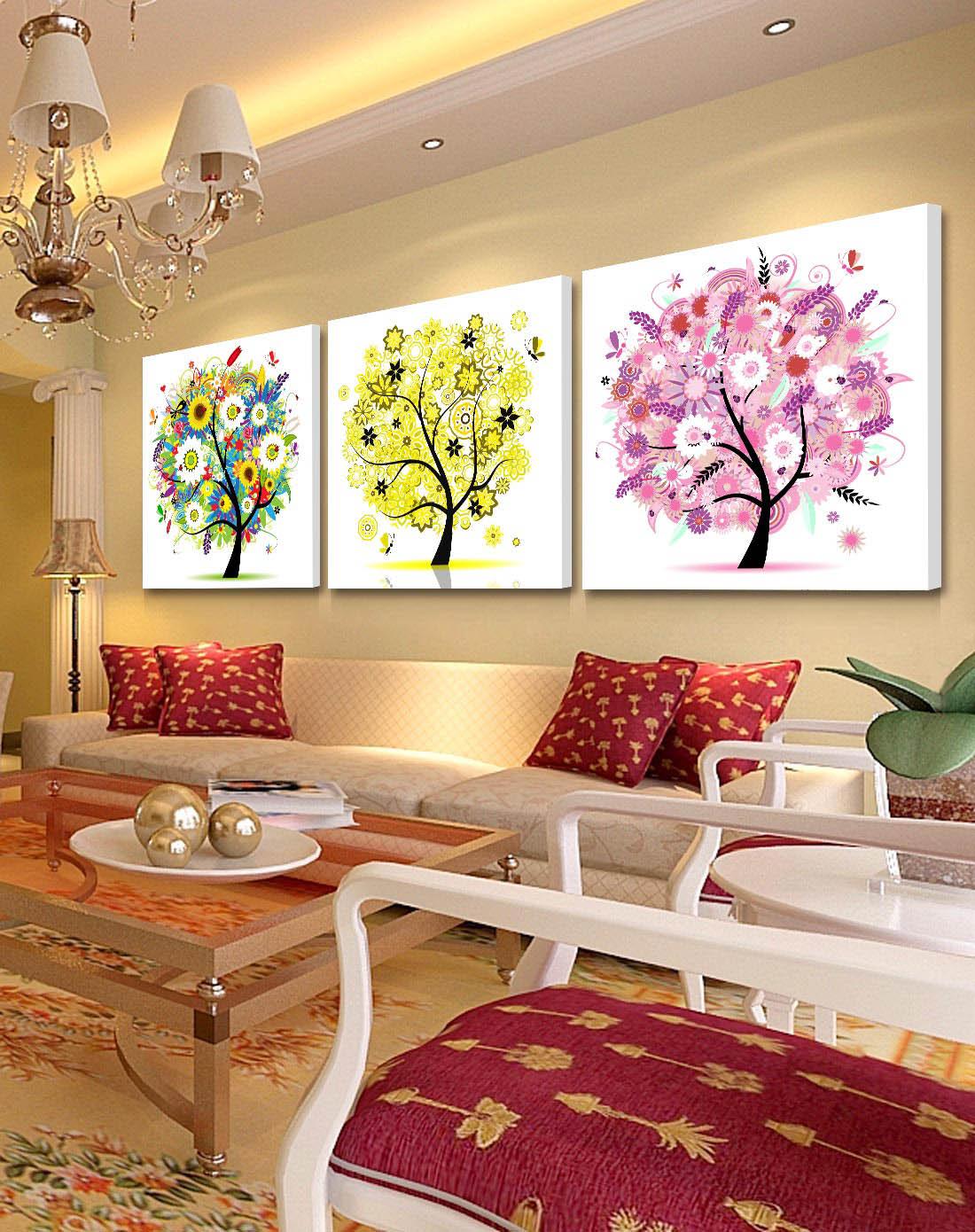柠檬树家居装饰专场简约装饰画 幸福多彩树wp010_唯品