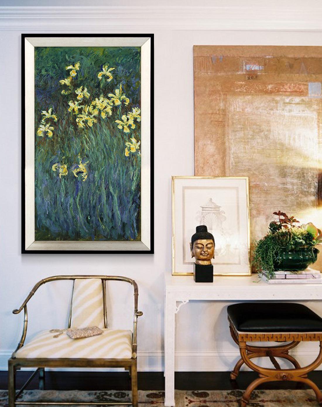 柠檬树家居装饰专场中式客厅装饰画 莫奈黄色茑尾花k4