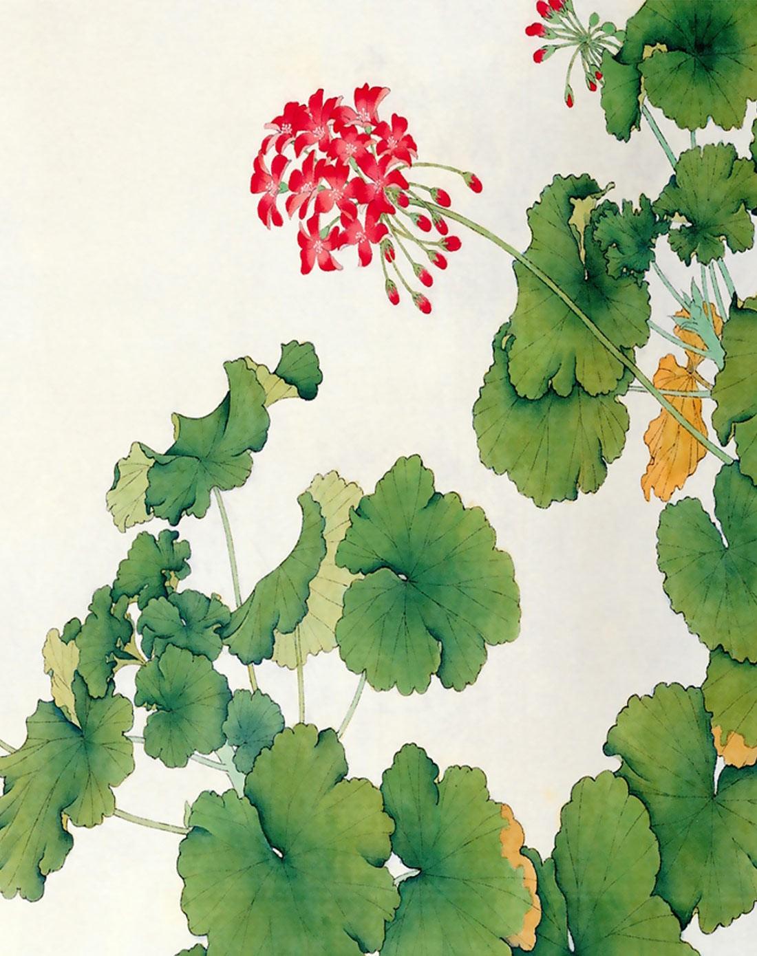 柠檬树家居装饰专场清新花卉画芯装饰画 绿叶红花jkh